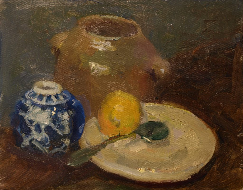 Little Blue Jar, Oil on Canvas on Panel, 8 x 10 Inches, by Susan Grisell, $200