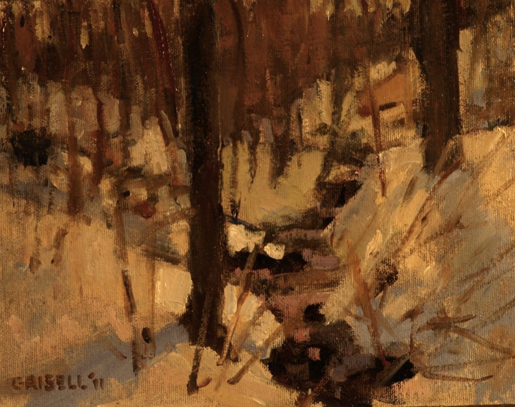 Little Brook in Winter, Oil on Canvas on Panel, 8 x 10 Inches, by Susan Grisell, $150