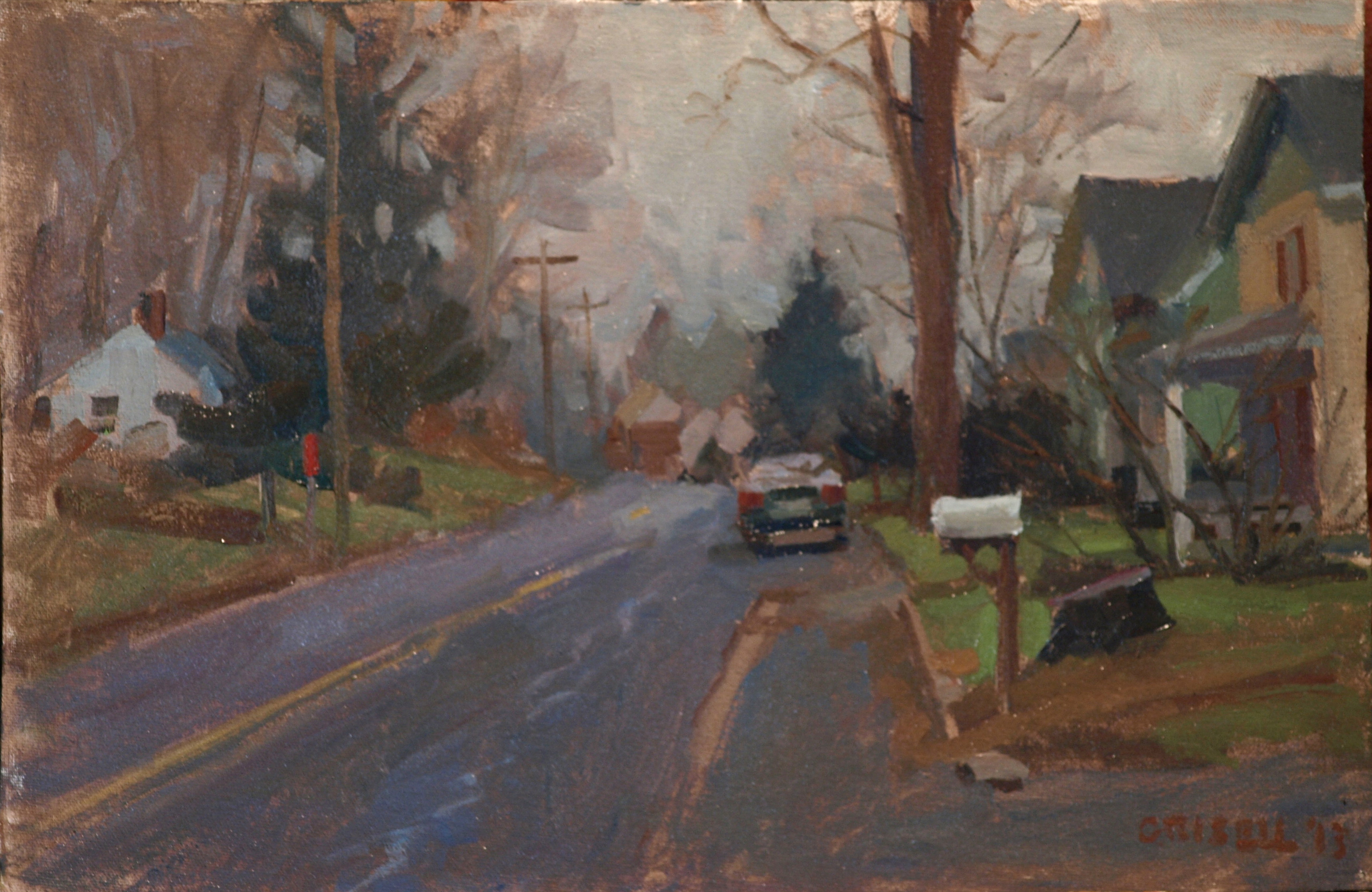 Mailbox, Oil on Canvas on Panel, 12 x 18 Inches, by Susan Grisell, $275