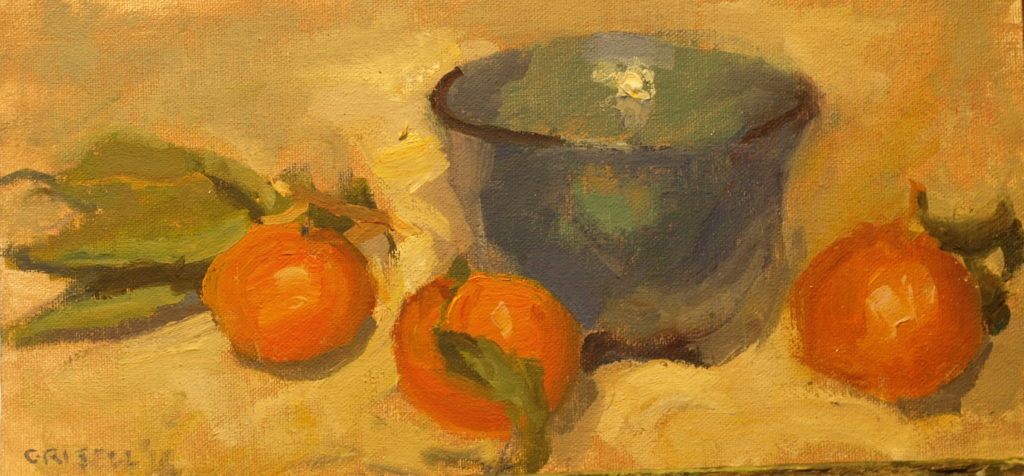 Mandarins and Blue Bowl, Oil on Canvas on Panel, 6 x 12 Inches, by Susan Grisell, $200