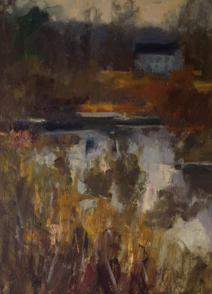 Marsh in South Kent, Oil on Canvas on Panel, 16 x 12 Inches, by Susan Grisell, $325