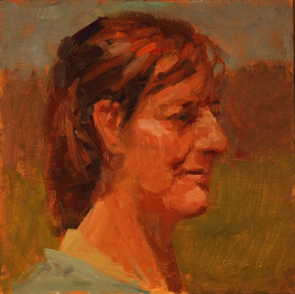 Martine in Profile, Oil on Panel, 12 x 12 Inches, by Susan Grisell, $250
