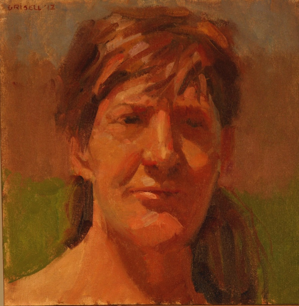 Martine Squinting, Oil on Canvas on Panel, 12 x 12 Inches, by Susan Grisell, $250