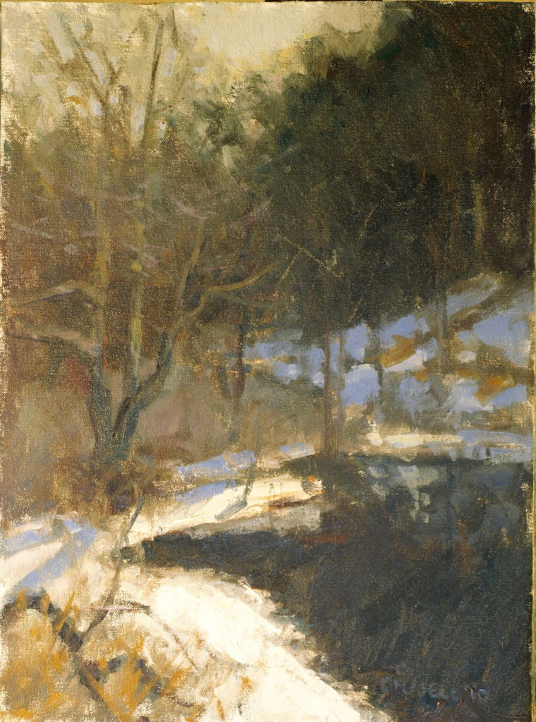 Mill Pond in March, Oil on Canvas on Panel, 16 x 20 Inches, by Susan Grisell, $300