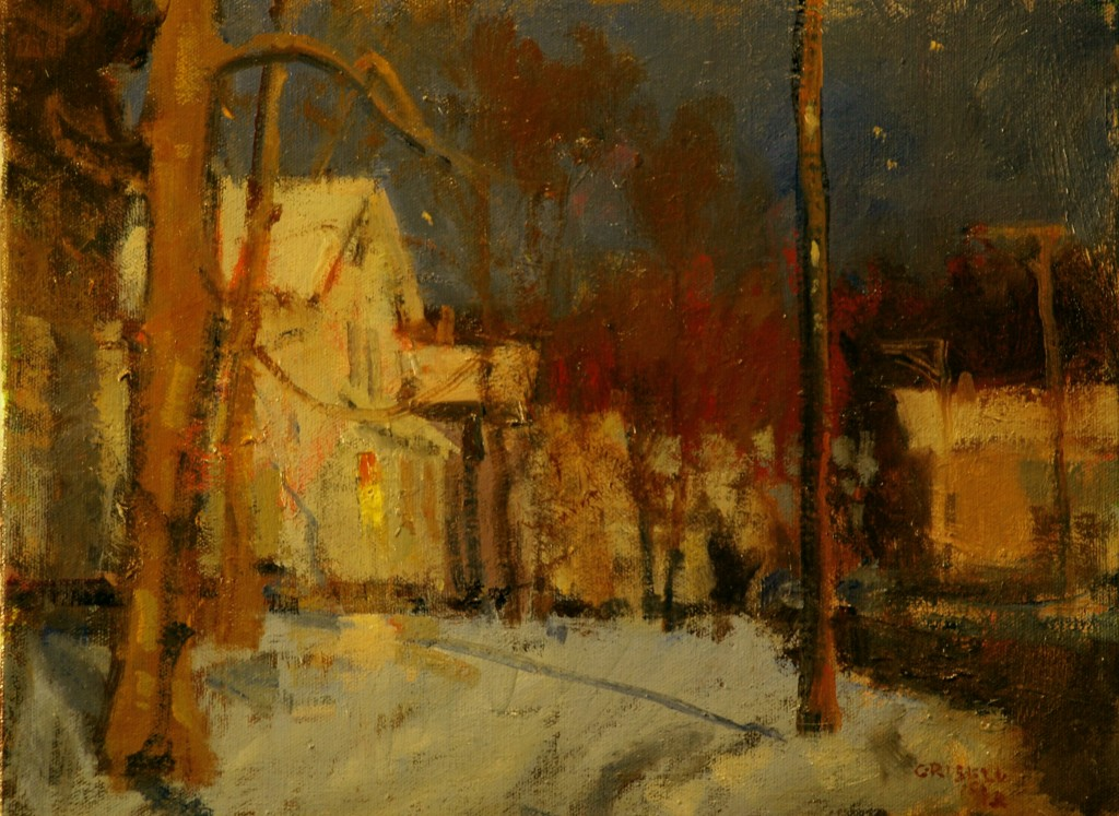 Moonlit Street, Oil on Canvas, 11 x 14 Inches, by Susan Grisell, $250