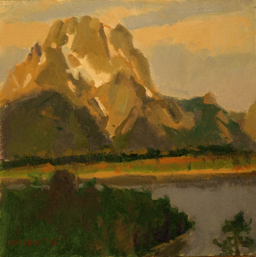 Mt Moran -- Study 1, Oil on Canvas on Panel, 12 x 12 Inches, by Susan Grisell, $250