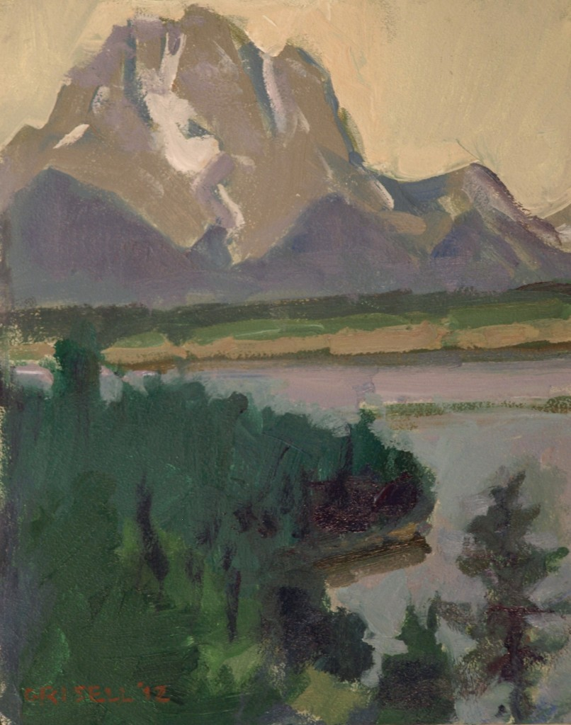Mt Moran -- Study 2, Oil on Canvas on Panel, 10 x 8 Inches, by Susan Grisell, $250