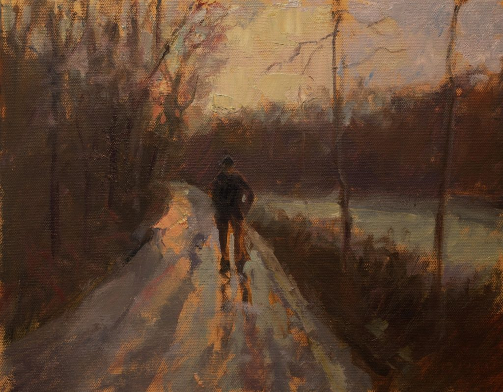 Mud Pond Road, Oil on Canvas on Panel, 11 x 14 Inches, by Susan Grisell, $300