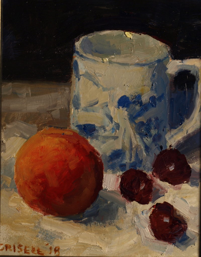 Mug, Peach and Cherries, Oil on Panel, 10 x 8 Inches, by Susan Grisell, $200