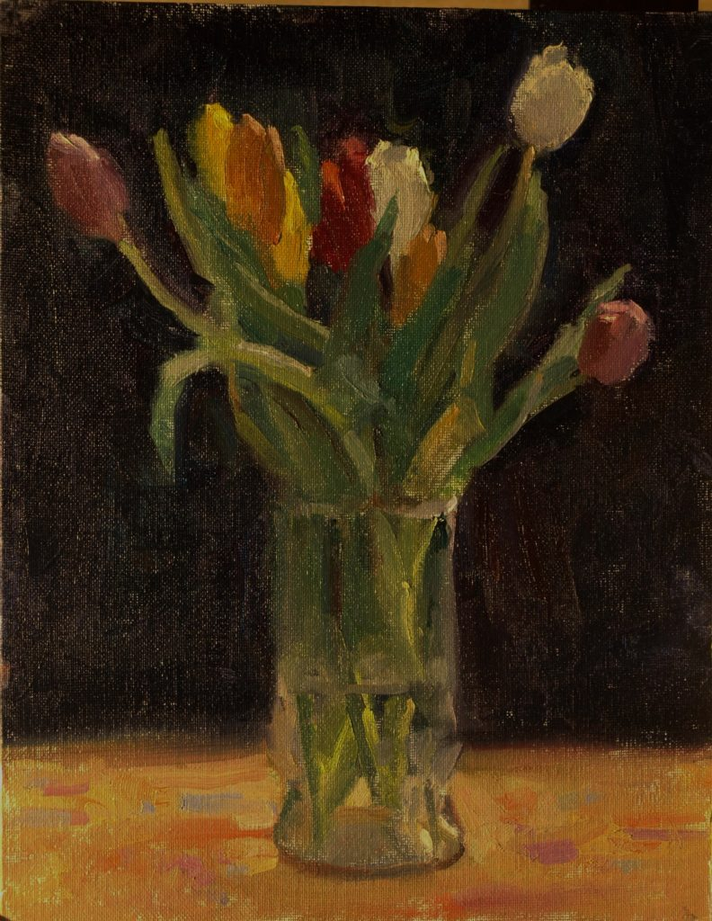 Multicolored Tulips, Oil on Canvas on Panel, 14 x 11 Inches, by Susan Grisell, $300