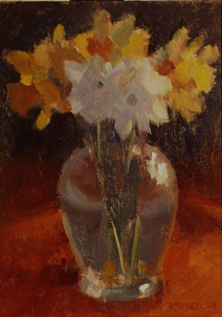 Narcissi, Oil on Canvas on Panel, 16 x 12 Inches, by Susan Grisell, $300