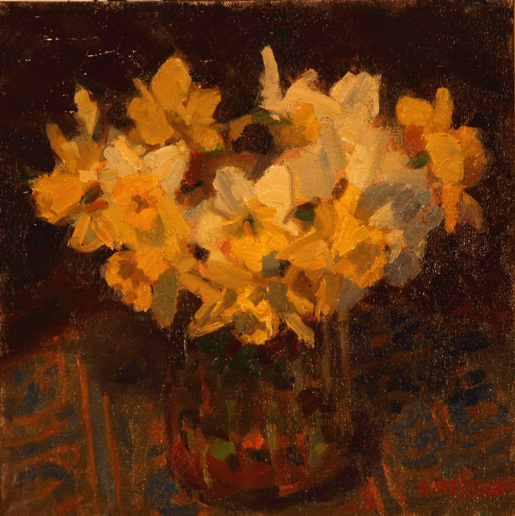 Narcissus, Oil on Canvas on Panel, 12 x 12 Inches, by Susan Grisell, $250