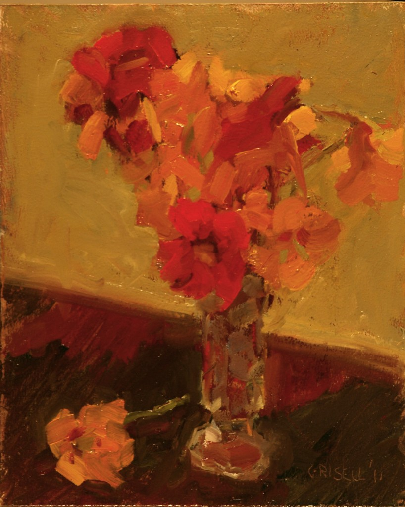 Nasturtiums, Oil on Canvas on Panel, 10 x 8 Inches, by Susan Grisell, $150