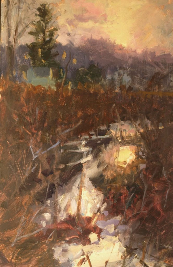 Near Sunset, Oil on Panel, 18 x 12 Inches, by Susan Grisell, $325