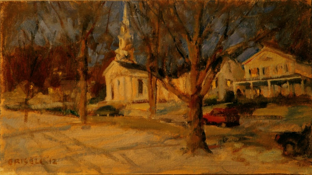 Night on Main Street, Oil on Canvas on Panel, 9 x 16 Inches, by Susan Grisell, $250