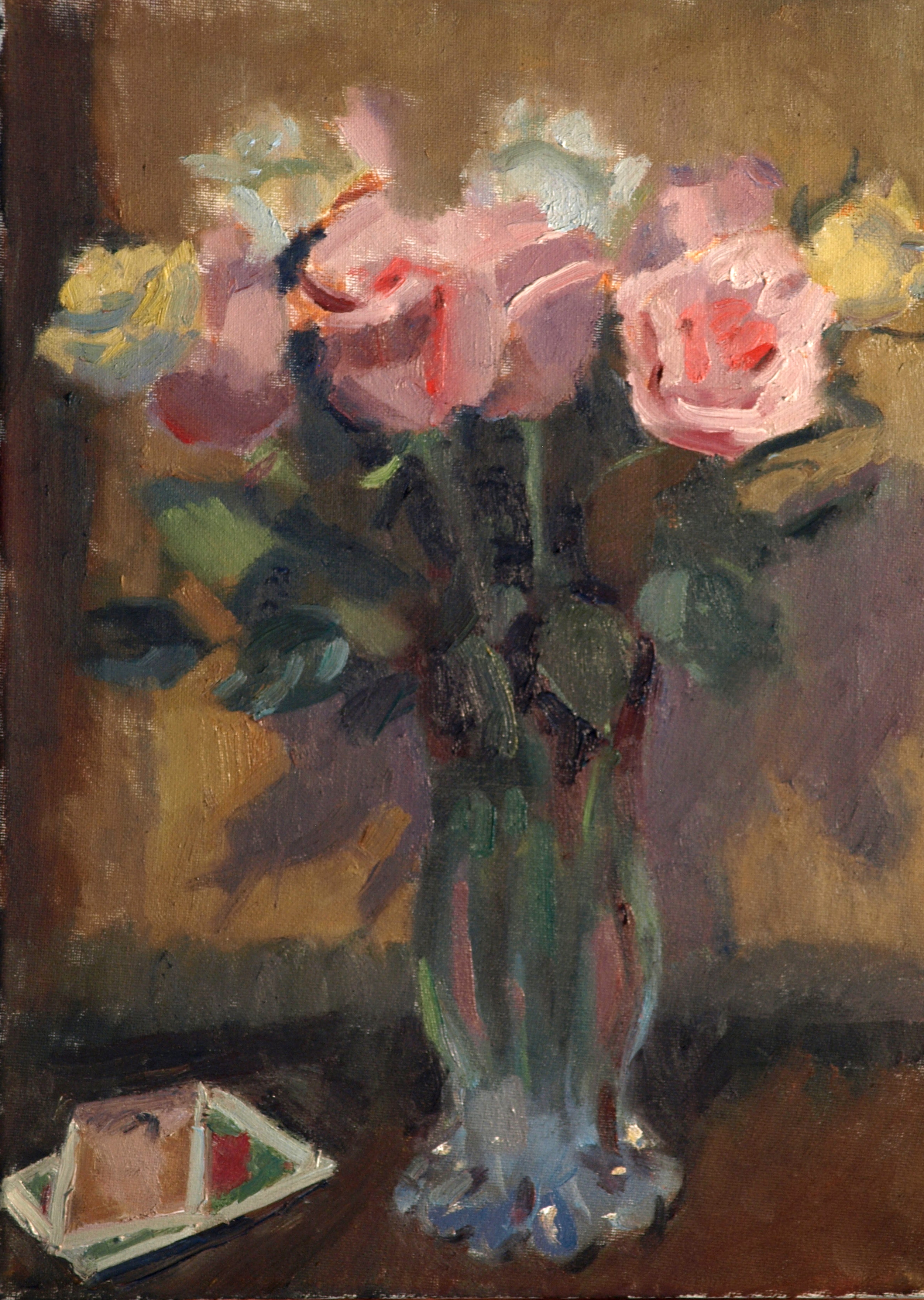 Notecards and Roses, Oil on Canvas on Panel, 16 x 12 Inches, by Susan Grisell, $275