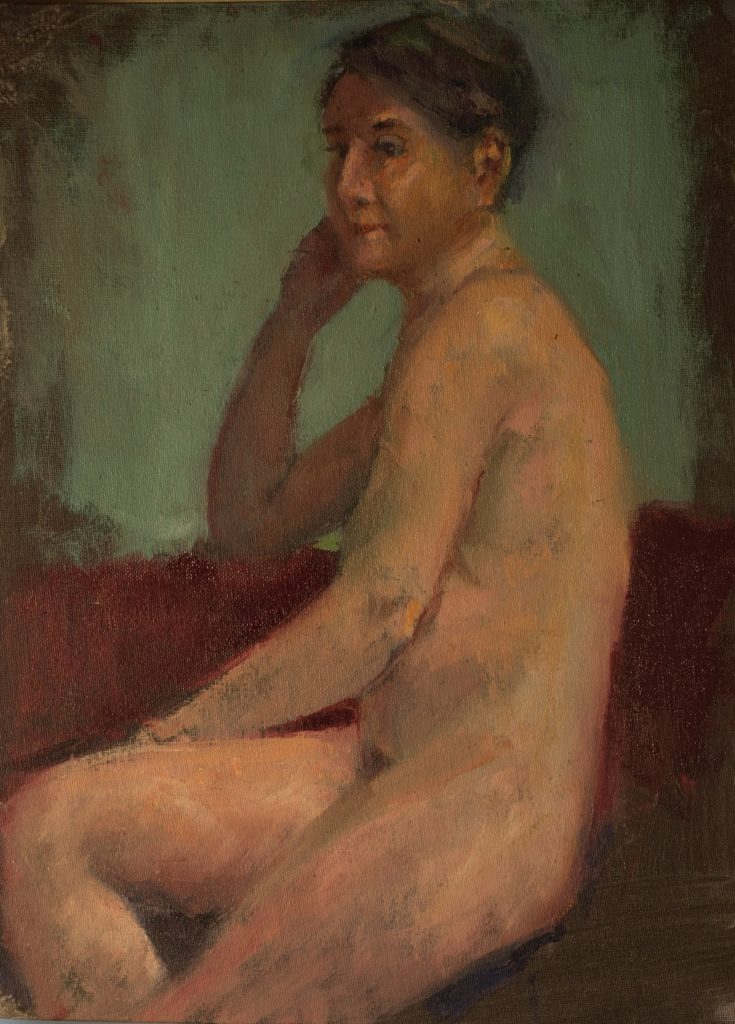 Nude with Green Background, Oil on Canvas on Panel, 16 x 12 Inches, by Susan Grisell, $325