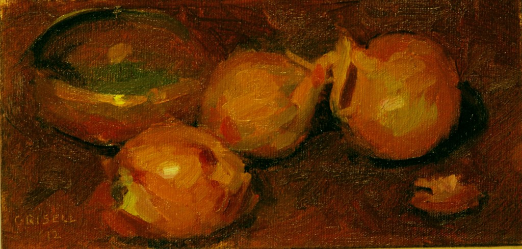 Onions and Copper, Oil on Canvas on Panel, 6 x 12 Inches, by Susan Grisell, $150