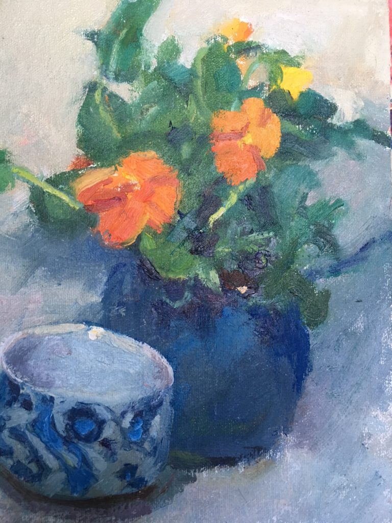 Orange Violas, Oil on Canvas on Panel, 10 x 8 Inches, by Susan Grisell, $200