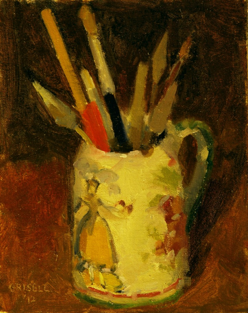 Painted Mug with Tools, Oil on Canvas on Panel, 10 x 8 Inches, by Susan Grisell, $150