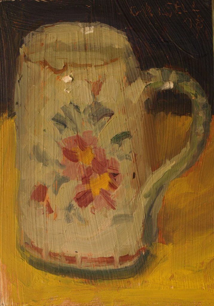 Painted Mug, Oil on Panel, 8 x 6 Inches, Oil on Panel, by Susan Grisell, $125