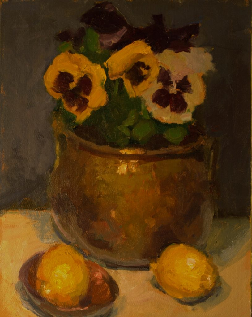 Pansies and Lemons, Oil on Canvas on Panel, 14 x 11 Inches, by Susan Grisell, $300
