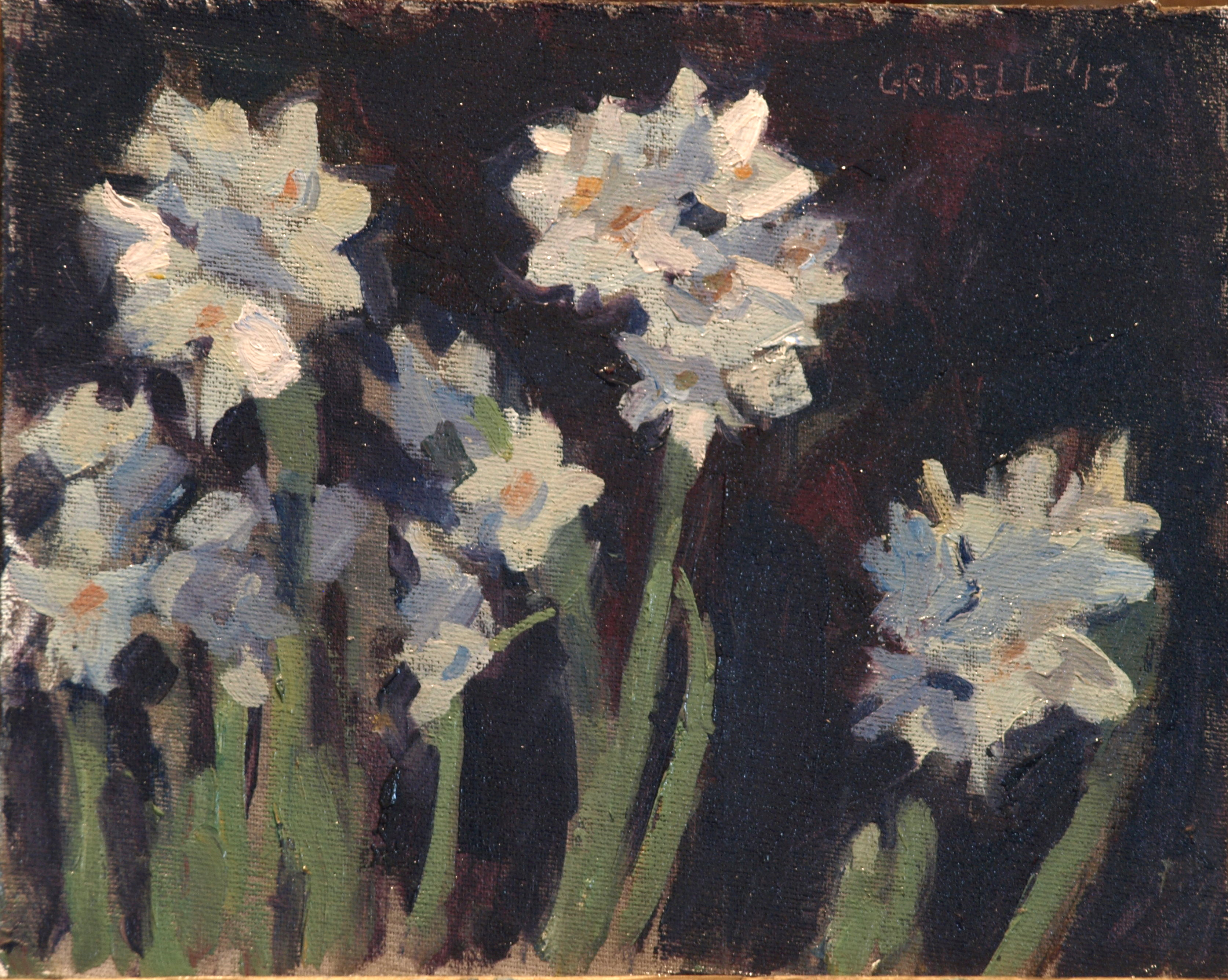 Paperwhites, Oil on Canvas on Panel, 8 x 10 Inches, by Susan Grisell, $150