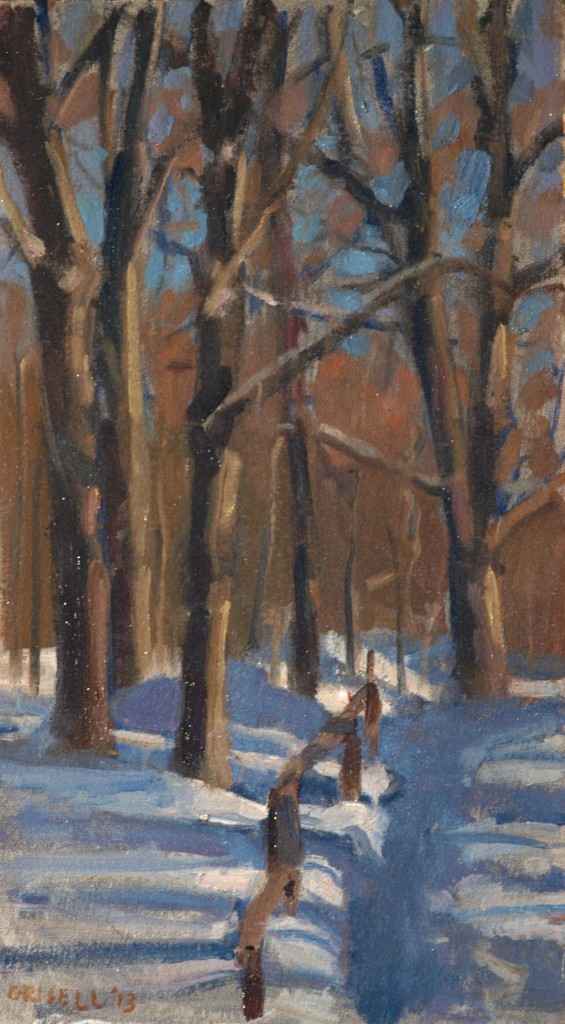 Path in Winter, Oil on Canvas on Panel, 16 x 9 Inches, by Susan Grisell, $250