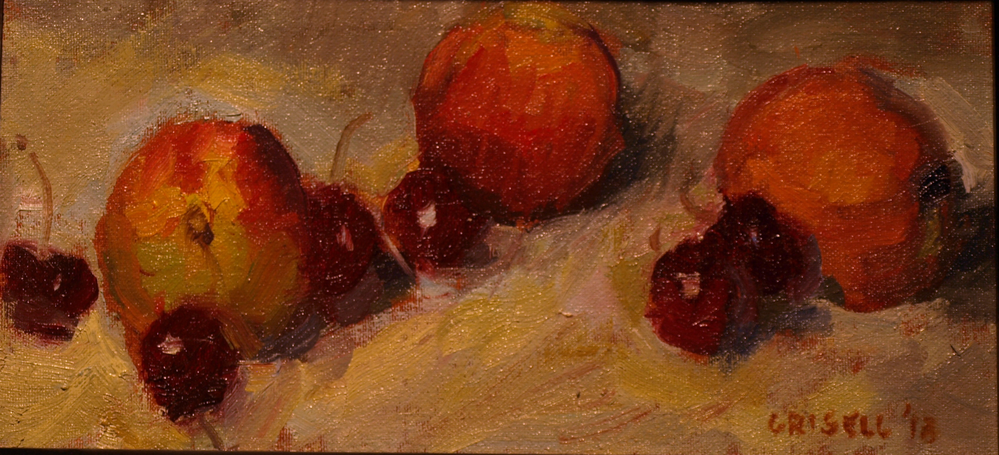 Peaches and Cherries, Oil on Canvas on Panel, 6 x 12 Inches, by Susan Grisell, $200