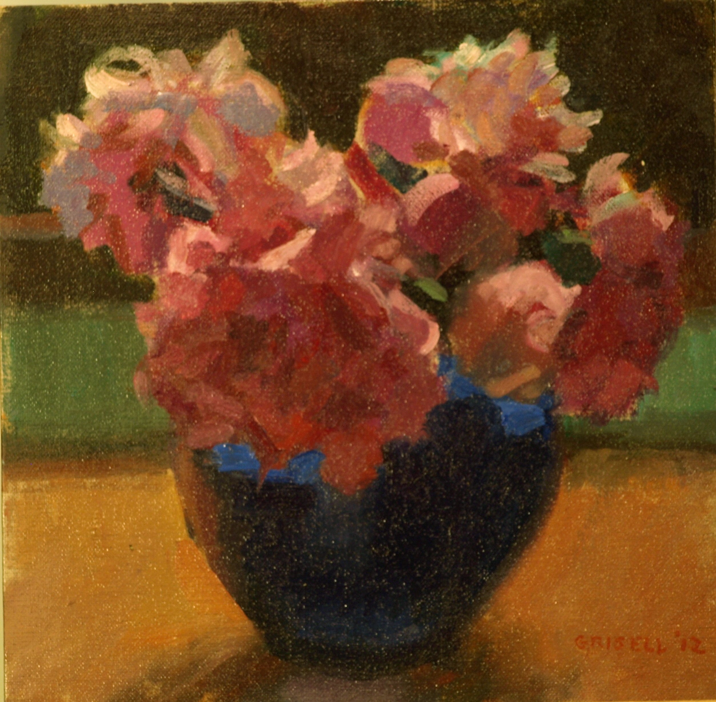 Peonies and Blue Vase, Oil on Canvas on Panel, 12 x 12 Inches, by Susan Grisell, $250