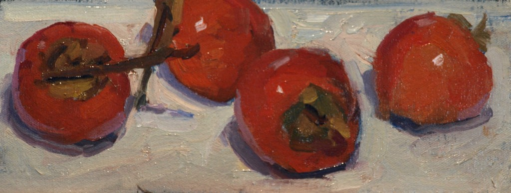 Persimmons, Oil on Canvas on Panel, 6 x 12 Inches, by Susan Grisell, $150