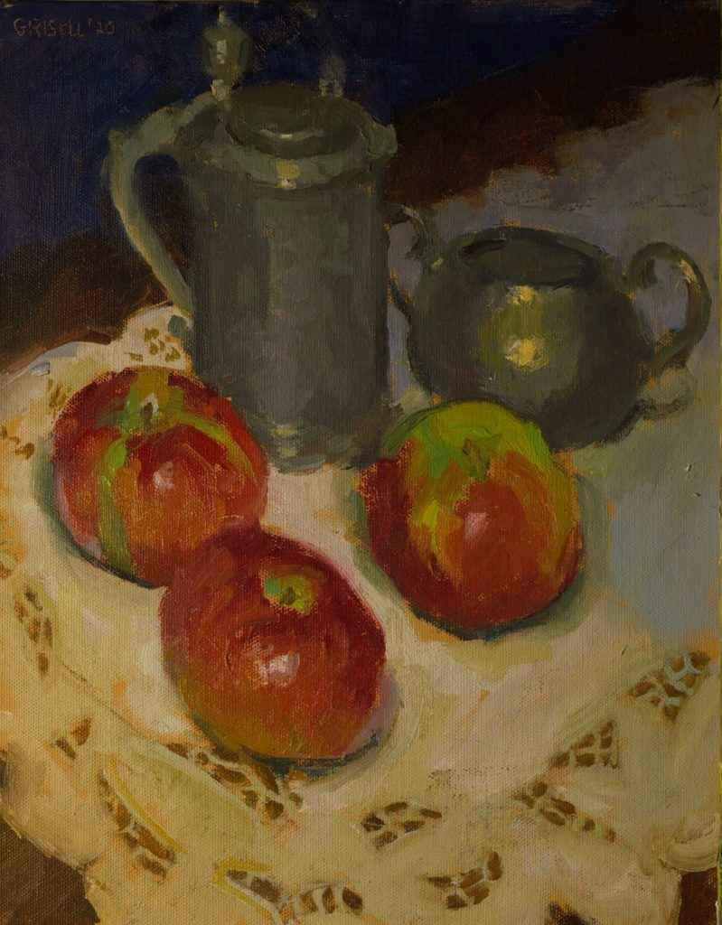 Pewter, Apples and Lace, Oil on Canvas on Panel, 14 x 11 Inches, by Susan Grisell, $300