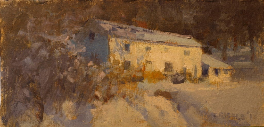 Piliero House in Snow, Oil on Canvas on Panel, 6 x 12 Inches, by Susan Grisell, $200