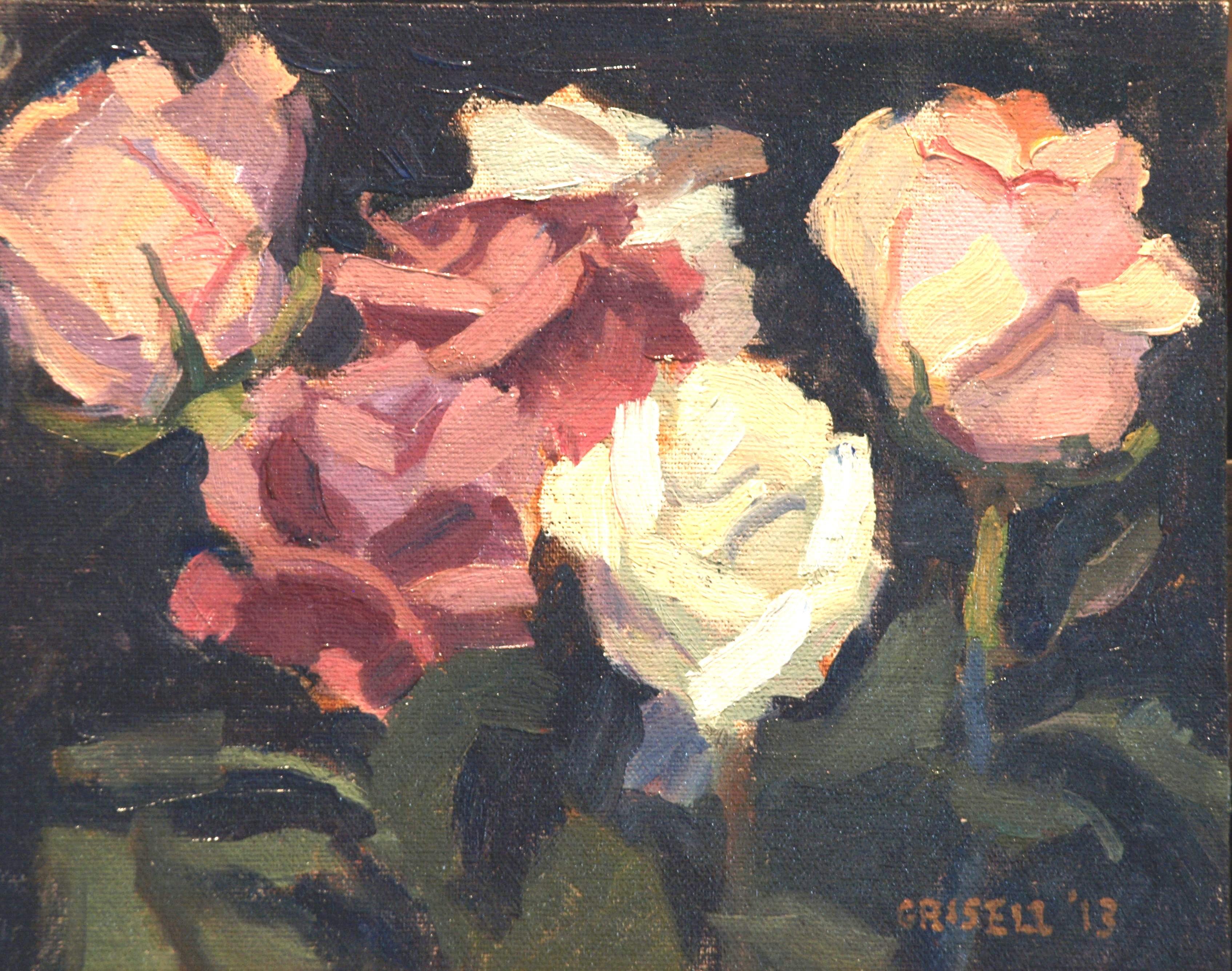 Pink and White, Oil on Canvas on Panel, 8 x 10 Inches, by Susan Grisell, $150