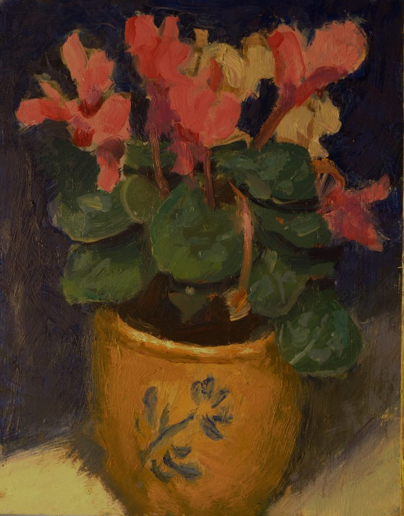 Pink Cyclamen, Oil on Panel, 10 x 8 Inches, by Susan Grisell, $200