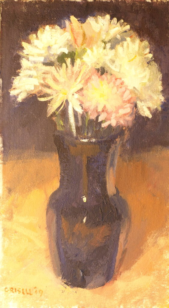 Pink Dahlia, Oil on Canvas on Panel, 16 x 9 Inches, by Susan Grisell, $275