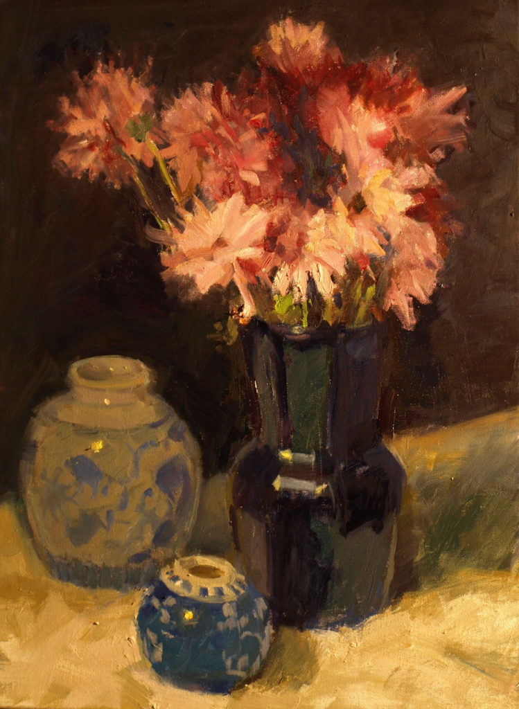 Pink Pompoms, Oil on Canvas, 24 x 18 Inches, by Susan Grisell, $750