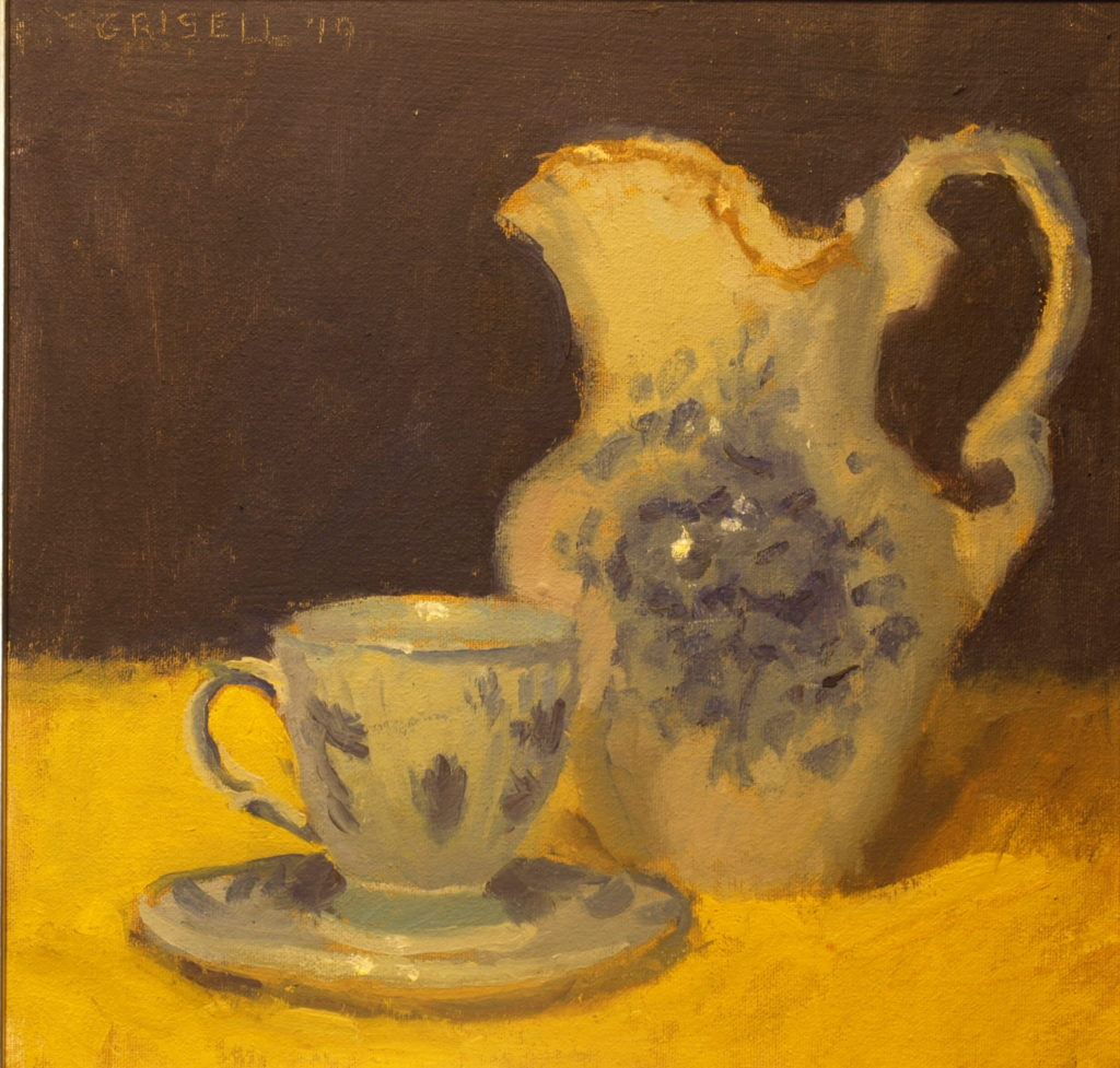 Pitcher and Delft Teacup, Oil on Canvas on Panel, 12 x 12 Inches, by Susan Grisell, $275