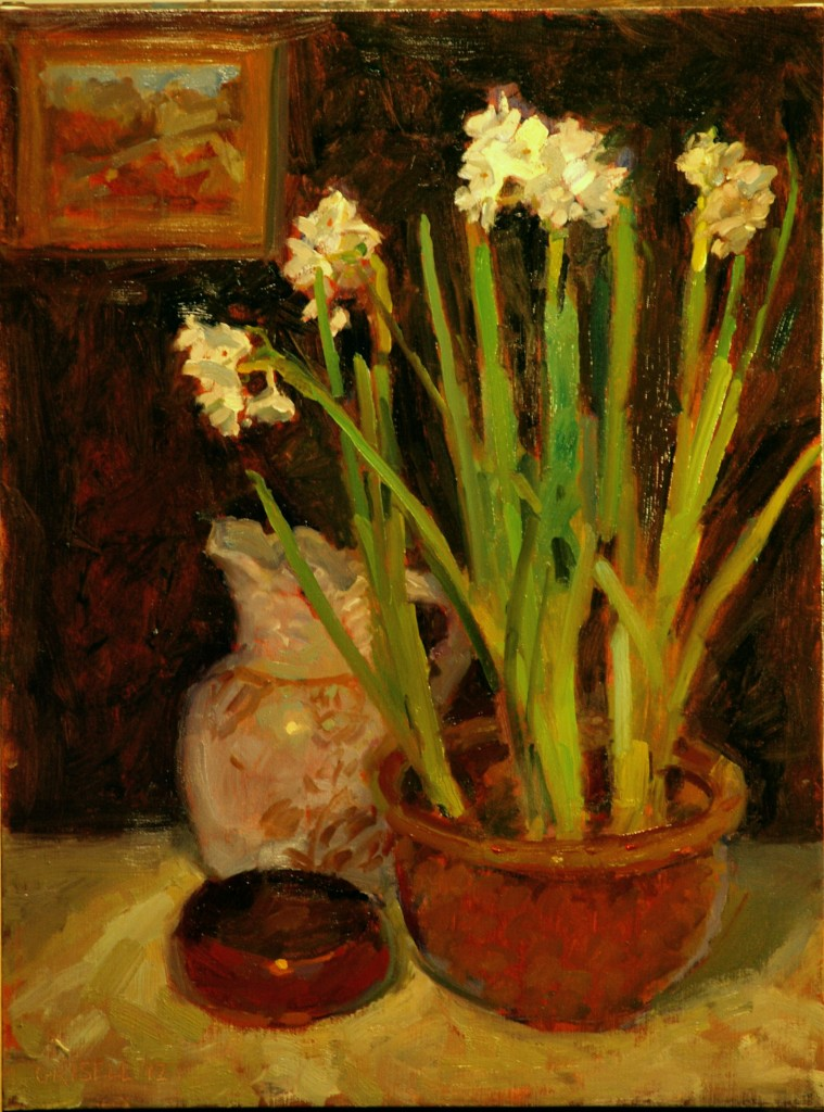 Pitcher and Paperwhites, Oil on Canvas, 24 x 18 Inches, by Susan Grisell, $500