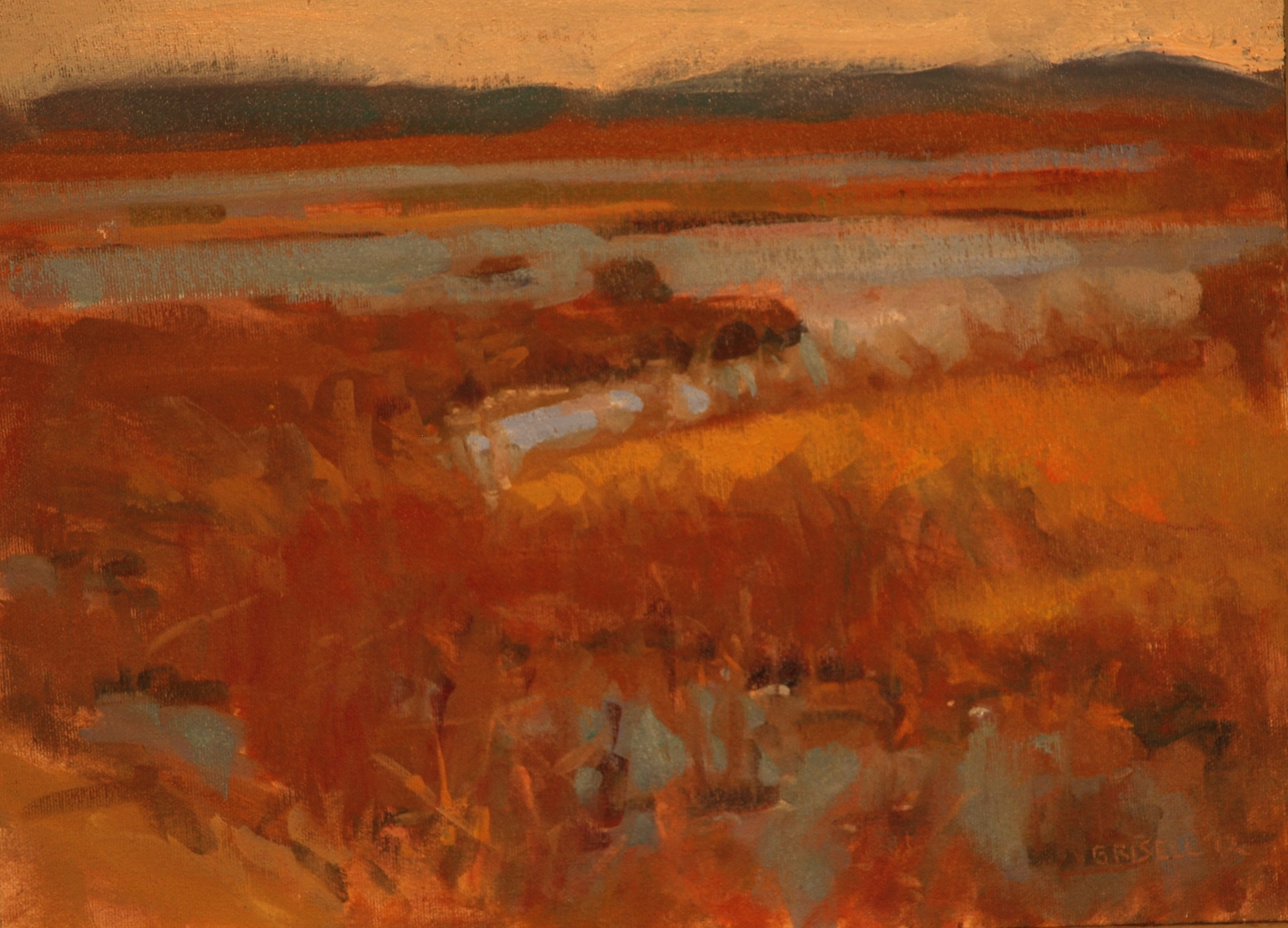 Plum Island Marsh, Oil on Canvas on Panel, 12 x 16 Inches, by Susan Grisell, $275