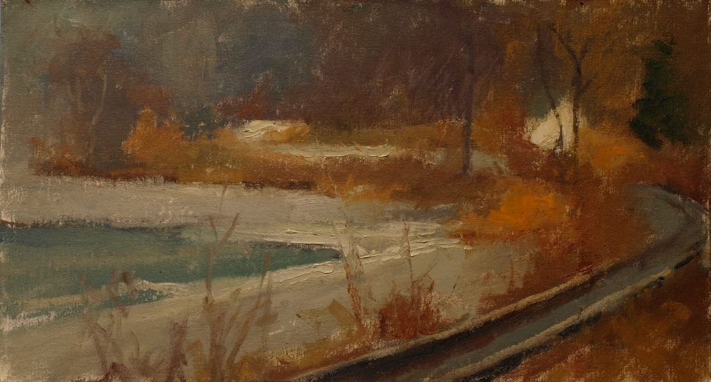 Pond and Railroad, Oil on Canvas on Panel, 9 x 16 Inches, by Susan Grisell, $250