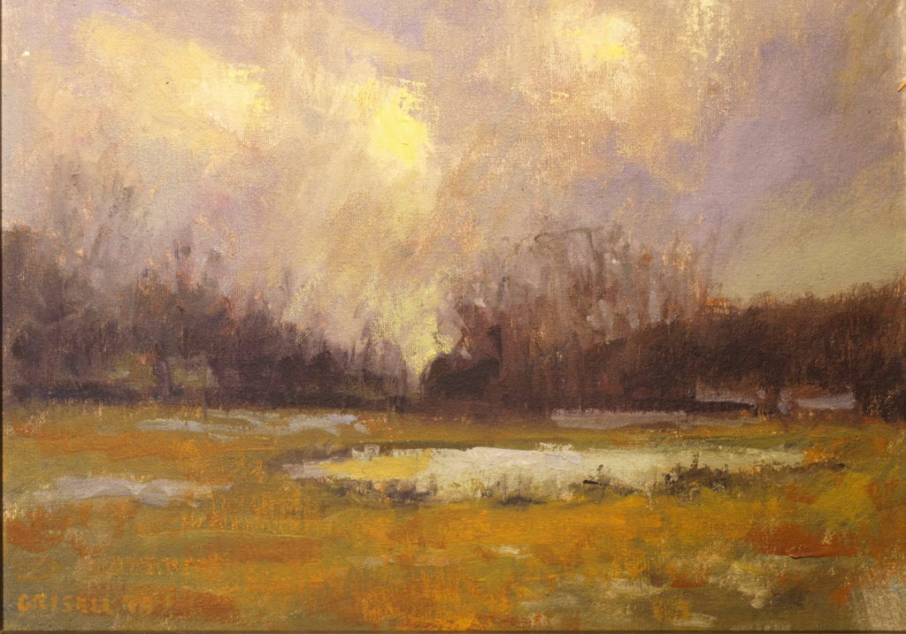 Pond in Winter, Oil on Canvas on Panel, 12 x 16 Inches, by Susan Grisell, $300
