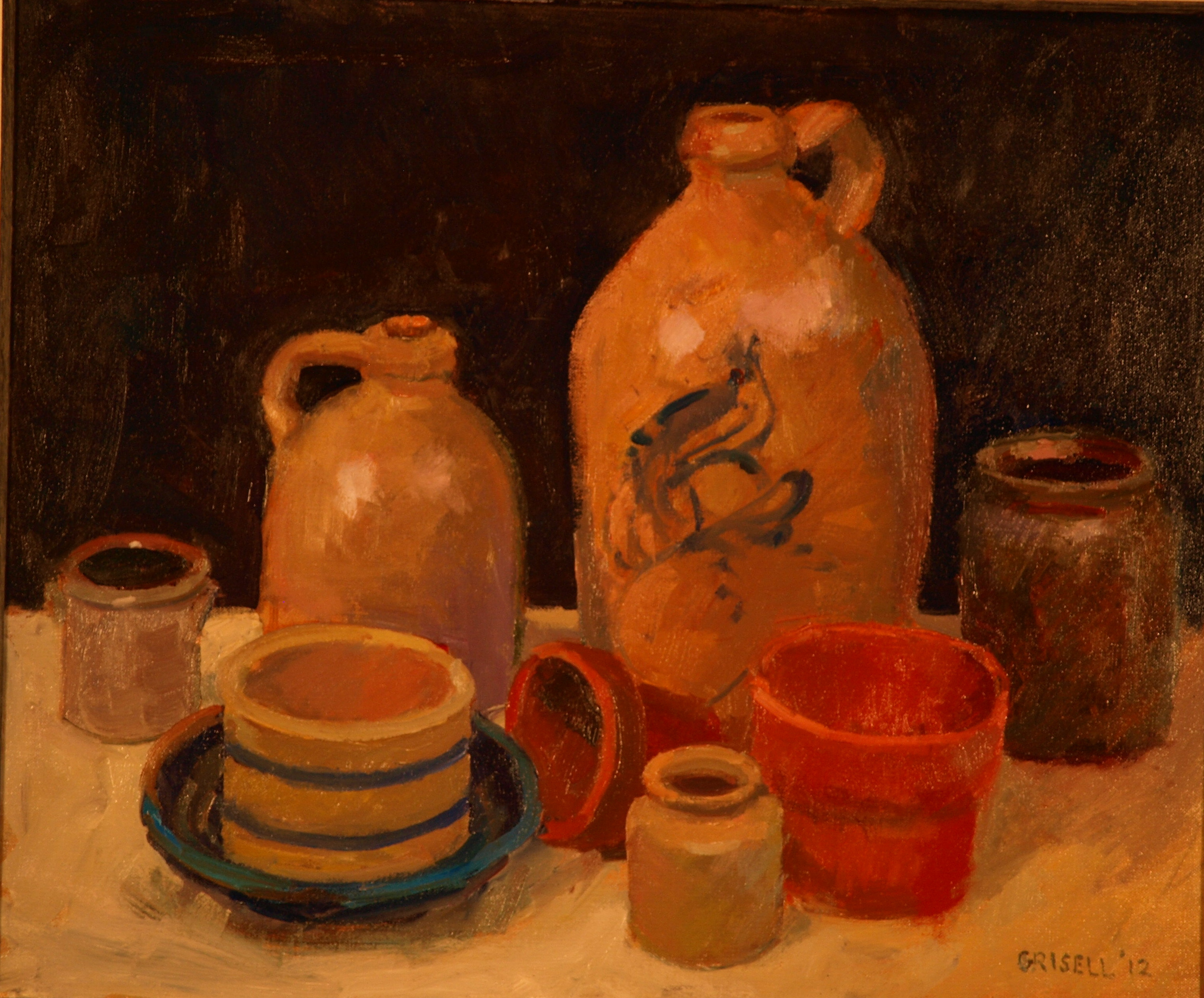 Pottery Still Life, Oil on Canvas, 20 x 24 Inches, by Susan Grisell, $650