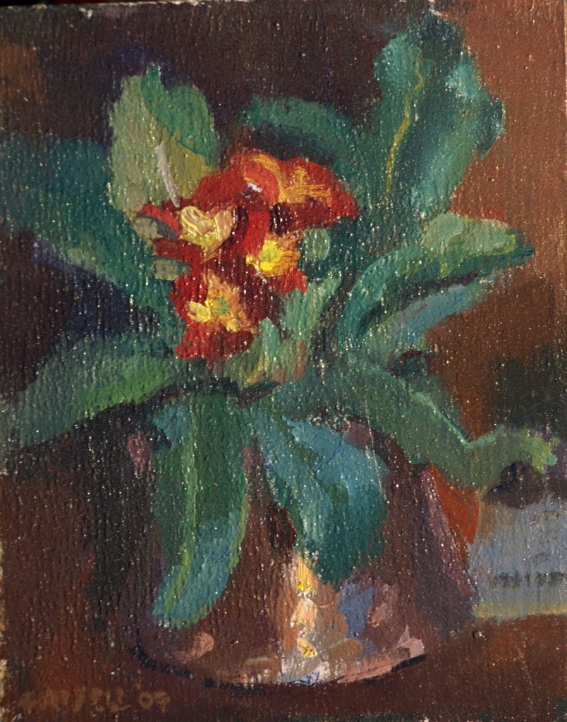 Primrose, Oil on Panel, 10 x 8 Inches, by Susan Grisell, $150
