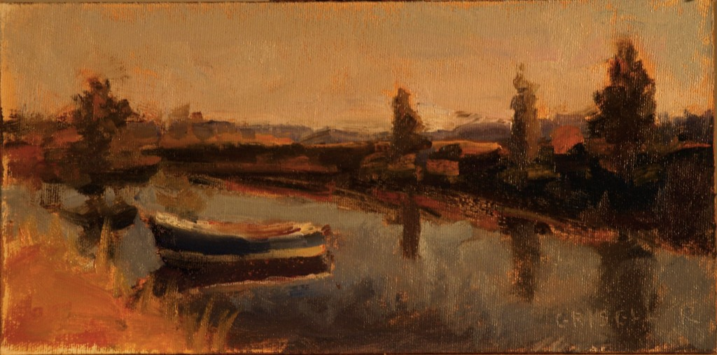 Quiet Waters, Oil on Canvas on Panel, 6 x 12 Inches, by Susan Grisell, $150