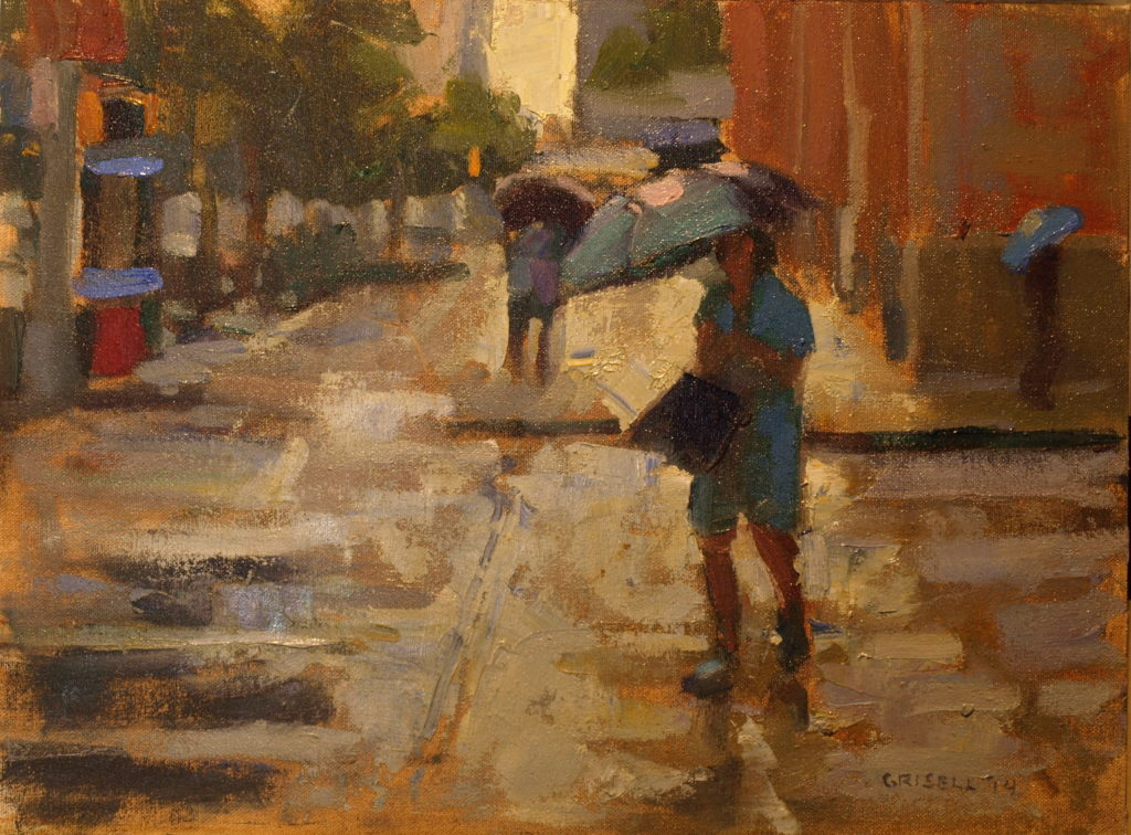 Rainy Day on Ninth Street, Oil on Canvas on Panel, 12 x 16 Inches, by Susan Grisell, $300