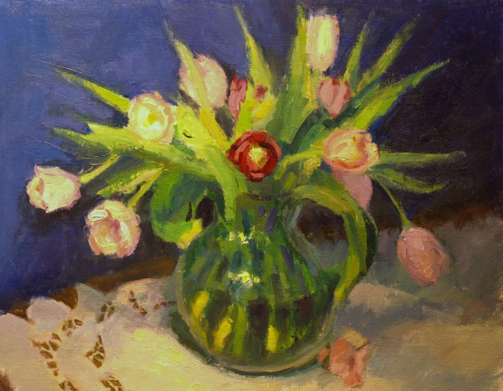 Red and Pink Tulips, Oil on Canvas on Panel, 16 x 20 Inches, by Susan Grisell, $750