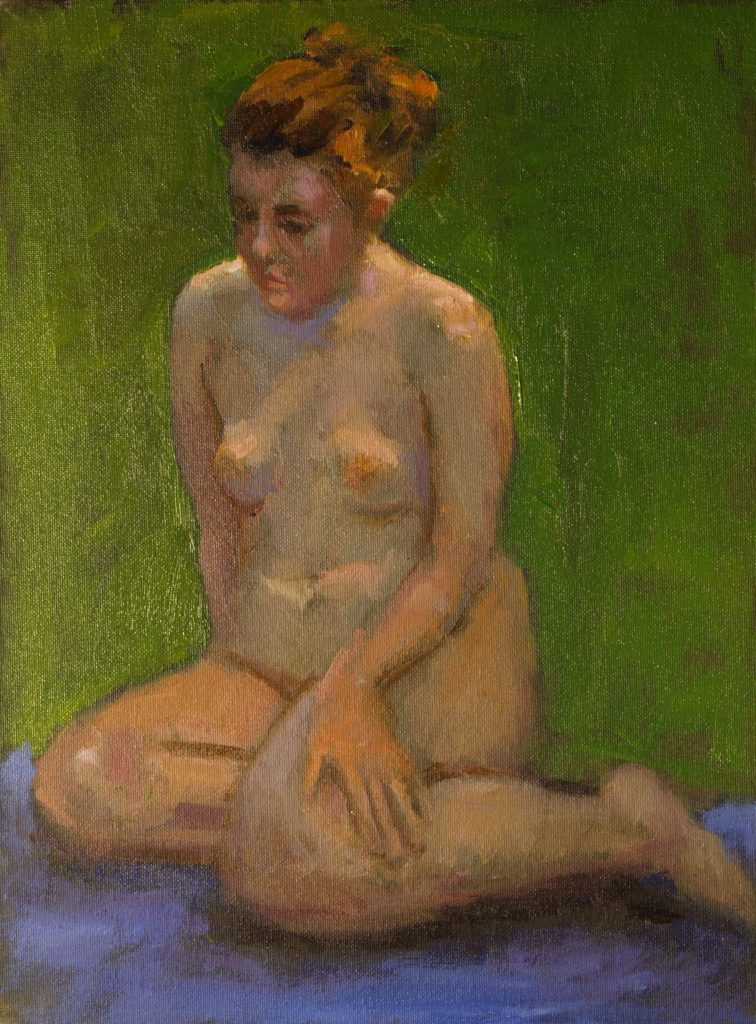 Red Headed Nude, Oil on Canvas on Panel, 16 x 12 Inches, by Susan Grisell, $325