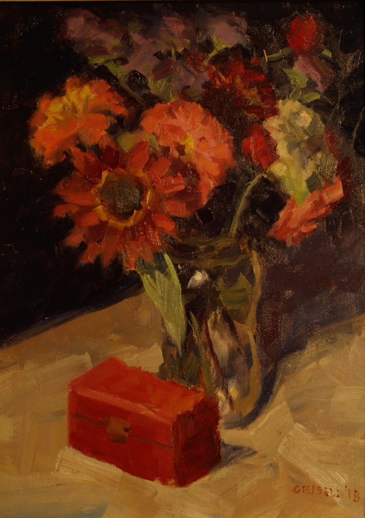 Red Sunflower, Oil on Panel, 16 x 12 Inches, by Susan Grisell, $300