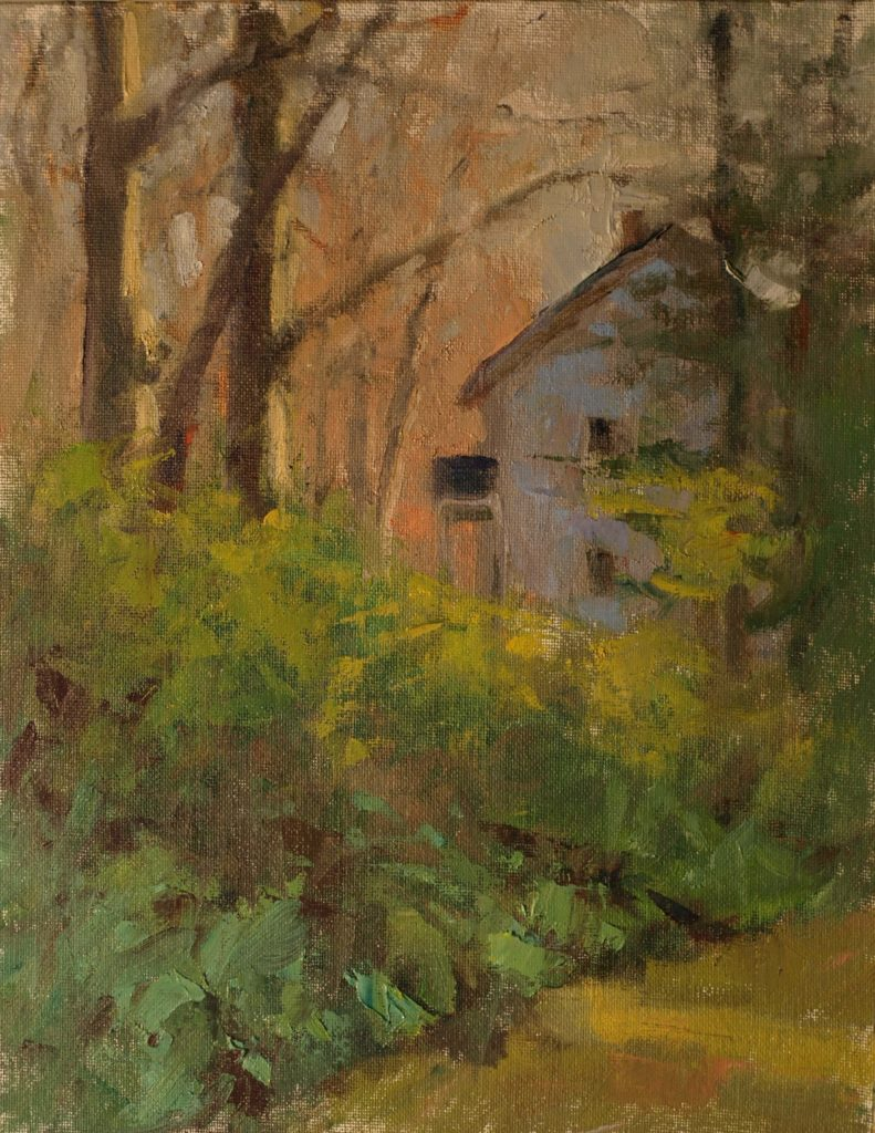 Richard's House in Spring, Oil on Canvas on Panel, 14 x 11 Inches, by Susan Grisell, $300